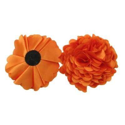 Цвете 100 мм сатен оранжево -2 броя