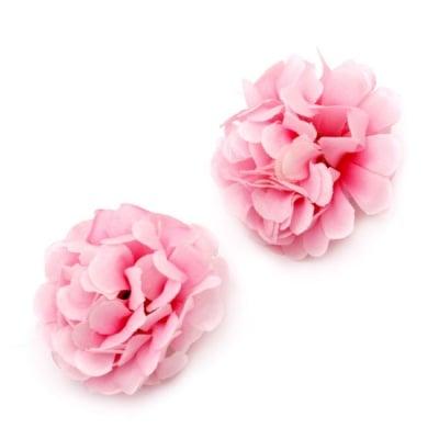 Цвят карамфил 45 мм с пънче за монтаж светло розов -10 броя