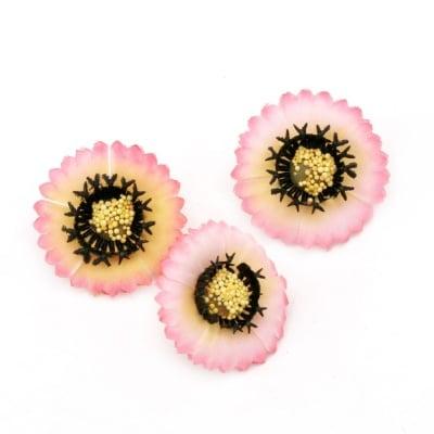 Цвят астра 35 мм с пънче за монтаж светло розов -10 броя