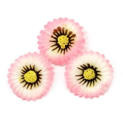 Цвят астра 35 мм с пънче за монтаж бяло и розово -10 броя