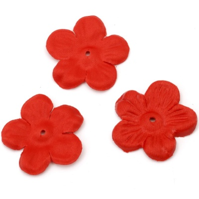 Цвете текстил 45x45 мм за декорация червено - 5 грама ~ 30 броя
