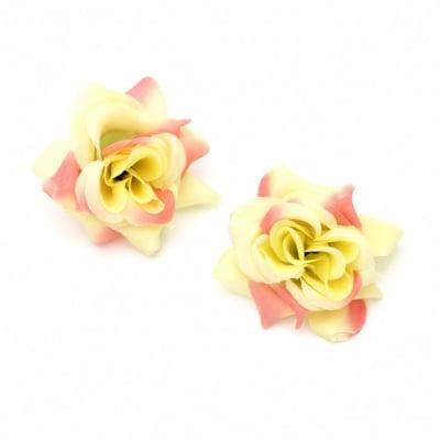 Цвят роза текстил 55 мм с пънче за монтаж жълто розаво -5 броя