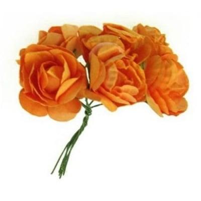 Роза букет хартия и тел 35 мм оранжева -6 броя