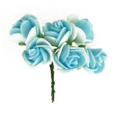 Роза букет гума и тел 20x80 мм брокат синя с бялo -6 броя