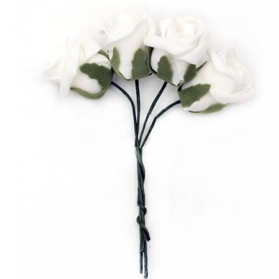 Роза букет гумирана 40x45 мм дръжка 130 мм бяла -4 броя