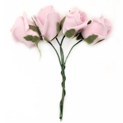Роза букет гумирана 40x45 мм дръжка 130 мм розова светла -4 броя