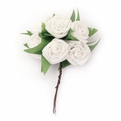 Роза букет гума 25x90 мм листо бяла -6 броя