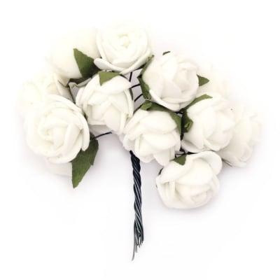 Роза букет 20x85 мм гума и тел бяла -12 броя