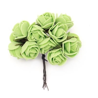 Роза букет 20x85 мм гума и тел зелена -12 броя