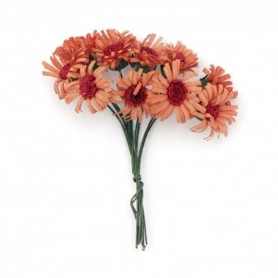 Цвете букет 20х90 мм цвят оранжево и червено -10 броя