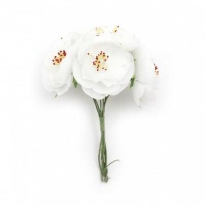 Цвете пролет букет текстил тичинки 130х50 мм цвят бял -6 броя