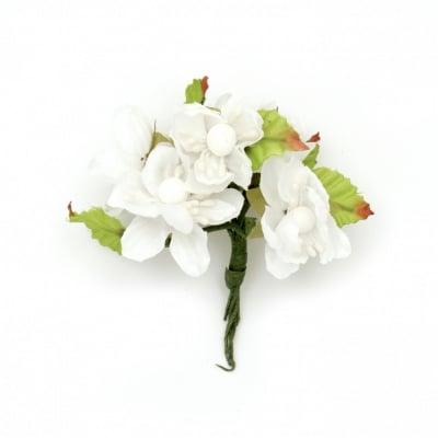 Цвете пролет букет текстил тичинка 40х90 мм цвят бял -6 броя