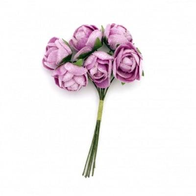 Роза букет текстил 20х100 мм цвят лилав -6 броя