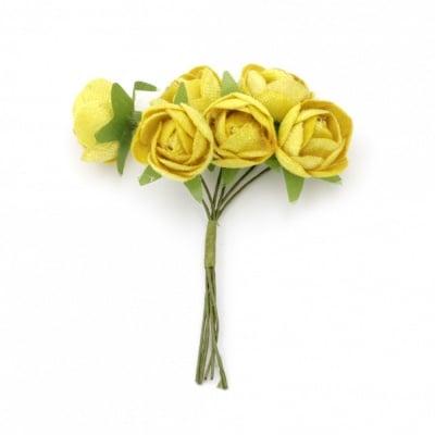 Роза букет текстил 20х100 мм цвят жълт -6 броя