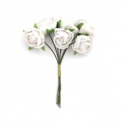 Роза букет текстил 20х100 мм цвят бял -6 броя