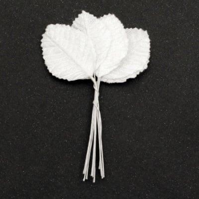 Листо текстил с дръжка плюш 30х100 мм цвят бял -10 броя