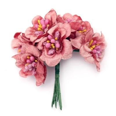 Цвете букет текстил 40x90 мм тичинка розово -6 броя