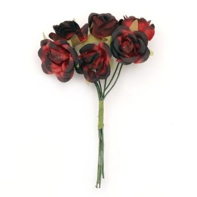 Роза букет текстил 22x100 мм червена тъмна -6 броя