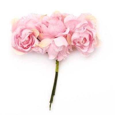 Роза букет текстил и дантела 35x110 мм къдрава розова светла -6 броя