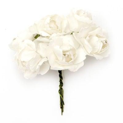 Роза букет хартия и тел 25x70 мм къдрава бяла -6 броя