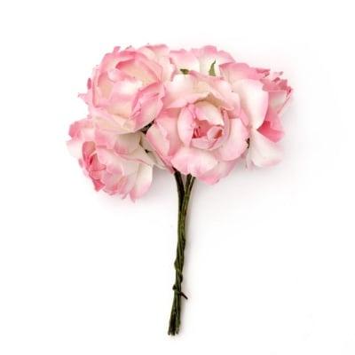 Роза букет хартия и тел 25x70 мм къдрава бяло и розово -6 броя
