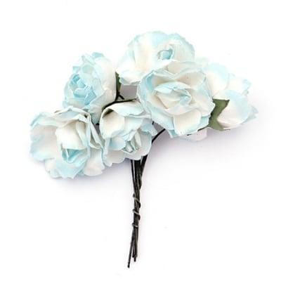 Роза букет хартия и тел 25x70 мм къдрава бяло и синьо -6 броя