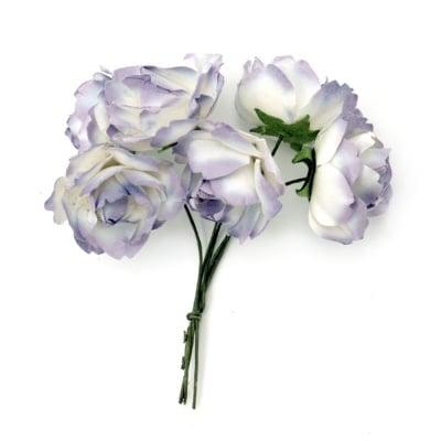 Роза букет хартия и тел 25x70 мм къдрава бяло и лилаво -6 броя
