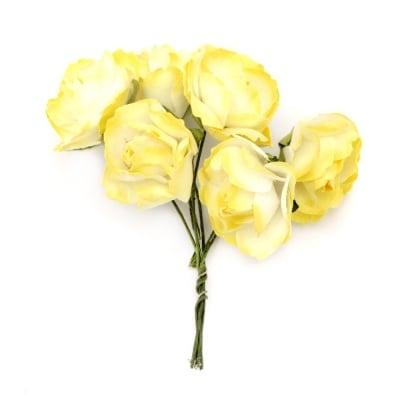 Роза букет хартия и тел 25x70 мм къдрава бяло и жълто -6 броя
