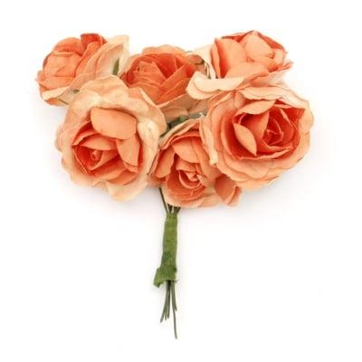 Роза букет хартия и тел 35x80 мм къдрава оранжева -6 броя
