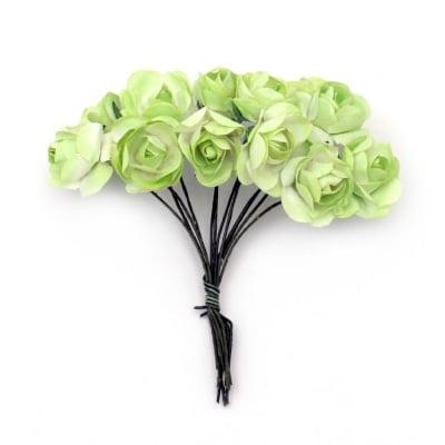 Роза букет хартия и тел 20x70 мм зелена светло и бяло -12 броя