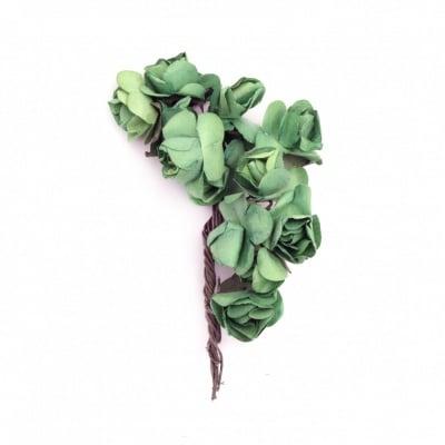 Роза букет хартия и тел 20x70 мм тревисто зелена -12 броя