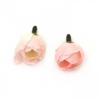 Цвят роза 20 мм с пънче за монтаж бяла с розово - 10 броя