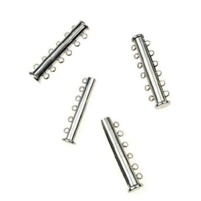 Закопчалка магнитна 35x10х7 мм две части шест уши цвят сребро