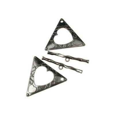 Закопчалка метална две части триъгълник 47х53 мм дупка 3 мм цвят графит -1 комплект