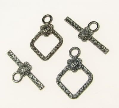 Закопчалка метална две части ромб 21х15 мм , 24x10 мм дупка 2.5 мм цвят графит -5 комплекта