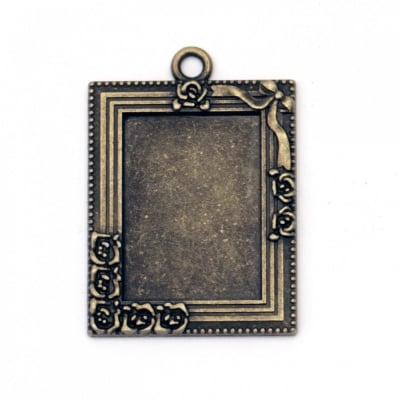 Основа за медальон метал 39x28x2 мм плочка 28x18 мм дупка 3 мм цвят антик бронз