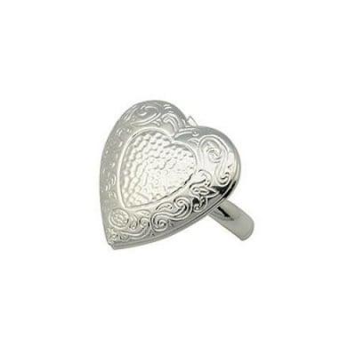 Пръстен метал 16 мм отварящо се сърце цвят сребро