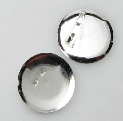 Основа за брошка метал с игла 30 мм цвят бял -10 броя