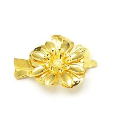 Метална щипка за коса цвете 45x32 мм цвят злато -2 броя