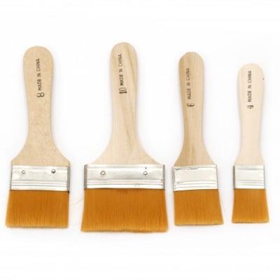 Комплект четки 4 броя плоски 25 мм, 35 мм, 46 мм, 63 мм с дървена дръжка