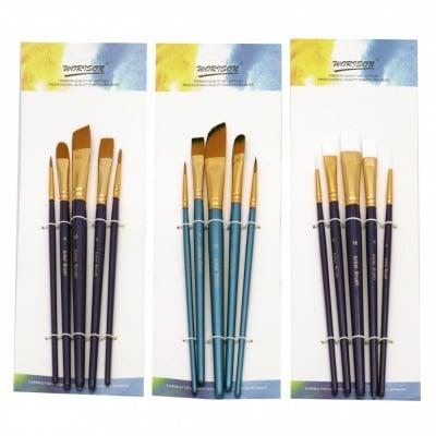 Комплект четки изкуствен косъм Worison 2 обли и 3 плоски -5 броя
