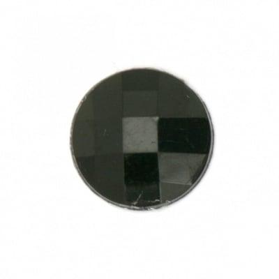 Камък акрил за лепене кръг 16x4 мм плътен черен фасетиран -10 броя