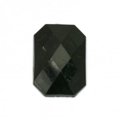 Камък акрил за лепене правоъгълник 18x25x5 мм плътен черен фасетиран -5 броя