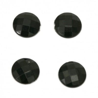 Камък акрил за лепене кръг 10x3 мм плътен черен фасетиран - 50 броя