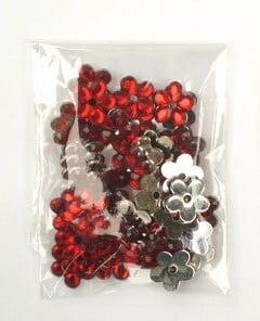Акрилен камък за лепене цвете 11x2 мм червен -20 броя