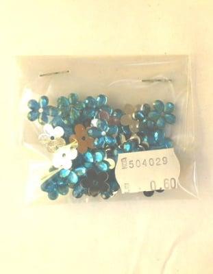Акрилен камък за лепене цвете 11x2 мм син -20 броя