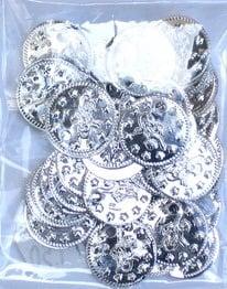 Паричка метал 15 мм сребро -50 броя