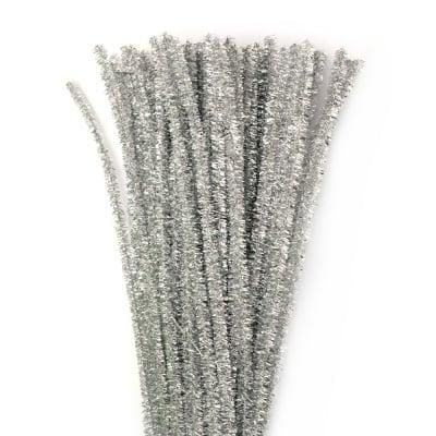 Пръчка телена ламе сребърна-30 см -10 броя