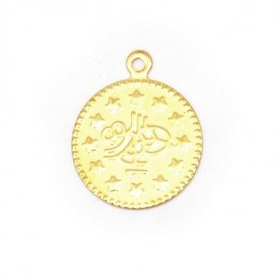 Паричка метал 15 мм злато с халка -50 броя