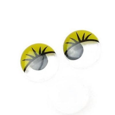 Очички мърдащи 15 мм с мигли жълти -50 броя